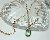 Green Amethyst Necklace, Amethyst Teardrop Gemstone Pendant, February Birthstone, Simple Necklace, Gold Amethyst Choker, Gift for Her