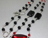 Black Onyx Statement Necklace, Multi Strand Long Wrap Necklace, Holiday Necklace, Large Red Pendant, Wire Wrapped Gemstones