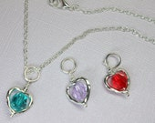 Aqua Swarovski Crystal Necklace, Interchangeable Jewelry, Red Crystal Heart Pendant, Lavender Crystal Necklace