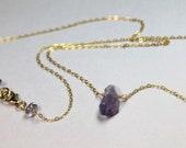 Rough Raw Amethyst Gemstone Pendant Necklace, Natural Amethyst Healing Crystal, February Birthstone, Gold Layering Pendant