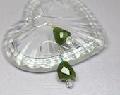 Green Garnet Crystal Drop Earrings, Garnet Gemstone Sterling Silver Dangles, Swarovski Crystal Minimalist Earrings, January Birthstone
