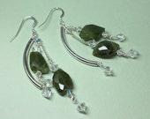 Green Garnet Earrings, Sterling Silver Garnet Dangles, Green Gemstone, Sterling Silver Garnets, January Birthstone, Healing Stone