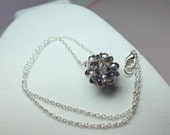 Crystal Ball Pendant, Beaded Crystal Necklace , Crystal Cluster, Sterling Silver Round Cluster Necklace