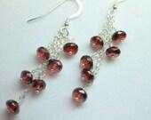 Red Garnet Earrings, Genuine Garnet Dangles, Red Chandelier Earrings, January Birthstone, Wire Wrapped Garnet Earrings