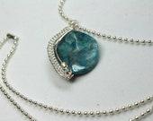Large Blue Agate Pendant, Wire Weave Gemstone Necklace, Boho Minimalist Style, Layering Necklace!