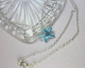 Blue Starfish Swarovski Crystal Silver Necklace, Blue Crystal Necklace, Simple Silver Choker, Beach Necklace