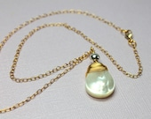 Pearl Teardrop Pendant, Mixed Metal, Bridal Necklace, Beach Jewelry, 14k Gold Filled and Silver Pearl Drop, MOP