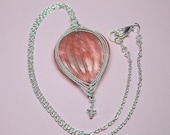 Pink Cherry Quartz Necklace Wire Wrapped in Silver, Large Pink Heart Pendant, Natural Quartz Gemstone, Layering Necklace