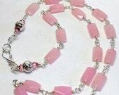 Rose Quartz Long Necklace, Rose Quartz Gemstones, Heart Chakra, Handmade Wire Wrapped Quartz Necklace, Necklace and Earrings