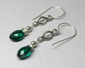 Green Quartz Earrings, Teal Crystal Drop Earrings, Sterling Silver Quartz, Marquis Quartz, Long Quartz Dangles