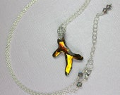 Gold Swarovski Crystal Branch Necklace in Sterling Silver, Large Crystal Pendant, Beach Jewelry, Gold Silver Pendant.
