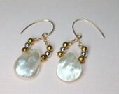 Gold Pearl Earrings, MOP Drop Earrings, Bridal Earrings, Silver and Gold Earrings, Pearl Jewelry, Natural White, Pearl Teardrops
