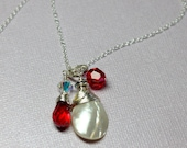 Red Crystal Necklace, MOP...