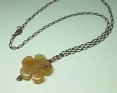 Large Agate Gemstone Necklace, Antique Gold Necklace, Large Stone Pendant, Carved Gemstone Flower, Layering Necklace