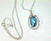 London Blue Quartz Wire Wrapped Briolette Pendant Necklace in Sterling Silver, Mininalist Style, Teardrop Gemstone Necklace, Wedding Jewelry