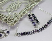 Purple Agate Necklace Set, Agate Wire Wrapped Necklace, Silver Spiral Agate Bar, Agate Statement Necklace