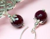 Wine Agate Earrings, Dark Burgundy Agate Stones, Sterling Silver, Gemstone Drop Earrings, Large Agate Dangles