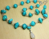 Blue Gemstone Necklace in Silver, White Jade Pendant, Robins Egg Blue Choker, Wire Wrapped, Natural Mineral Gemstone