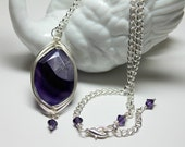 Large Purple Agate Gemstone Wire Wrapped in Silver, Agate Protection and Healing Statement Necklace, Dark Purple Bohemian Style Necklace