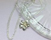 Sterling Silver Plumeria Necklace, Dainty Silver Necklace, Plumeria Jewelry, Minimalist, Simple Necklace, Delicate Sterling Silver Flower