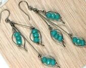 Green Quartz Leaf Earrings, Long Dangle Drop Earrings, Rustic Handmade Earrings, Green Leaf Earrings, Boho Chic, Artisan Earrings.