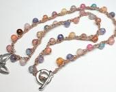Agate Crochet Necklace, R...