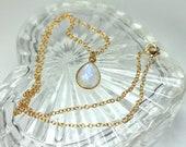 Gold Moonstone Pendant, Rainbow Moonstone, Bridal Necklace, Moonstone Teardrop Pendant, June Birthstone, Moonstone Jewelry
