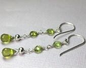 Long Peridot Earrings, Silver Peridot Earrings, Green Gemstones, Handmade Dangle Earrings, August Birthstone, Long Drop Earrings