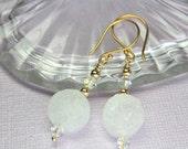 White Druzy Earrings, Raw Crystal Druzy, Druzy Dangle Earrings, Druzy Drop Earrings, Gold Filled Druzy, Simple Wire Wrapped Jewelry