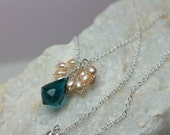 Blue Quartz Necklace Wire Wrapped in Pearls in Sterling Silver, Teal Blue Crystal Pendant, Freshwater Pearl Cluster