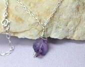 Purple Amethyst Raw Crystal Necklace, Sterling Silver Amethyst Crystal Pendant, February Birthstone, Healing Crystal Necklace