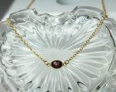 Red Garnet Gold Necklace , Natural Garnet Choker, January birthstone, Minimalist Dainty Simple Choker, Garnet Everyday Jewelry