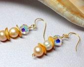 Pearl Earrings, Simple Classic Pearls, Pearl Drops, 14k Gold Filled Wedding Earrings, Genuine Freshwater Pearls, Crystal Pearl Dangles