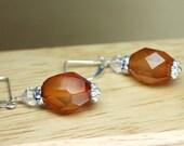 Carnelian Earrings, Carnelian Crystal Earrings, Carnelian Dangles, Energy Stone, Healing Stones, Sterling Silver Carnelian, Minimalist
