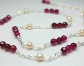 Red Agate Choker, Gemstone Station Necklace, Freshwater Pearls, Simple Gemstone Necklace