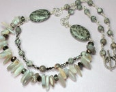Agate Double Strand Necklace, Grey and Cream Agate Stones, Agate Gemstone Spears and Crystals, Boho Style, Statement Necklace