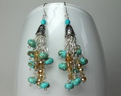 Genuine Turquoise Beaded Earrings, Chandelier Dangle Earrings, Silver Chain Earrings, Bohemian Gypsy Style, Statement Earrings