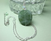 Green Jade Gemstone Pendant in Sterling Silver, Jade Necklace, Large Jade Gemstone, Genuine Jade, Layering Necklace, Round Green Stone