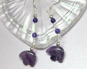 Amethyst Earrings, Long Amethyst Dangles, Zuni Bear Earrings, Protection Stone, Amethyst Gemstones