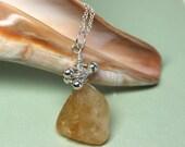 Citrine Necklace, Raw Gemstone Pendant, Wire Wrapped Citrine Gemstone, November Birthday, Sterling Silver, Healing Jewelry