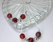 Red Jade Earrings, Silver...