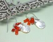 Carnelian Dangle Earrings, Mother of Pearl Teardrops, Sterling Silver Pearl Earrings, Orange Drops Earrings