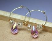 Pink Crystal Earrings, Go...