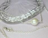 Baroque Pearl Necklace, Large Single Pearl, Pearl Pendant, White Freshwater Pearl, Genuine Pearl, June Birthstone, Simple Pearl Choker
