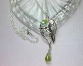 Hummingbird Pendant Necklace, Peridot Gemstone, Handmade Sterling Silver Hummingbird Jewelry, Greenery Jewelry