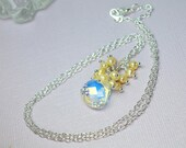 Swarovski Crystal Pendant Necklace, Freshwater Pearl Cluster, Clear Crystal Pendant Necklace, Wedding Necklace, Yellow Pearls