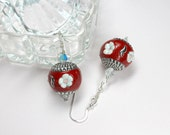 Red Earrings, Red Beaded Jewelry, Renaissance Jewelry, Red and Silver Flower Earrings, Red Dangles