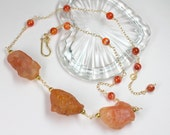 Carnelian Gemstone Necklace in Gold, Raw Carnelian, Natural Carnelian Nuggets, Beaded Statement Necklace, Station Necklace