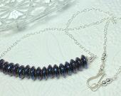 Blue Quartz Necklace, Cobalt Blue Crystal Necklace, Blue Gemstone Bar, Sterling Silver Blue Crystal Quartz, Layering Necklace