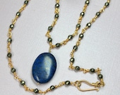 Blue Lapis Necklace, Lapis Lazuli and Pyrite 14k Gold Filled, Beaded Necklace, Wire Wrapped Gold Pyrite, December Birthstone